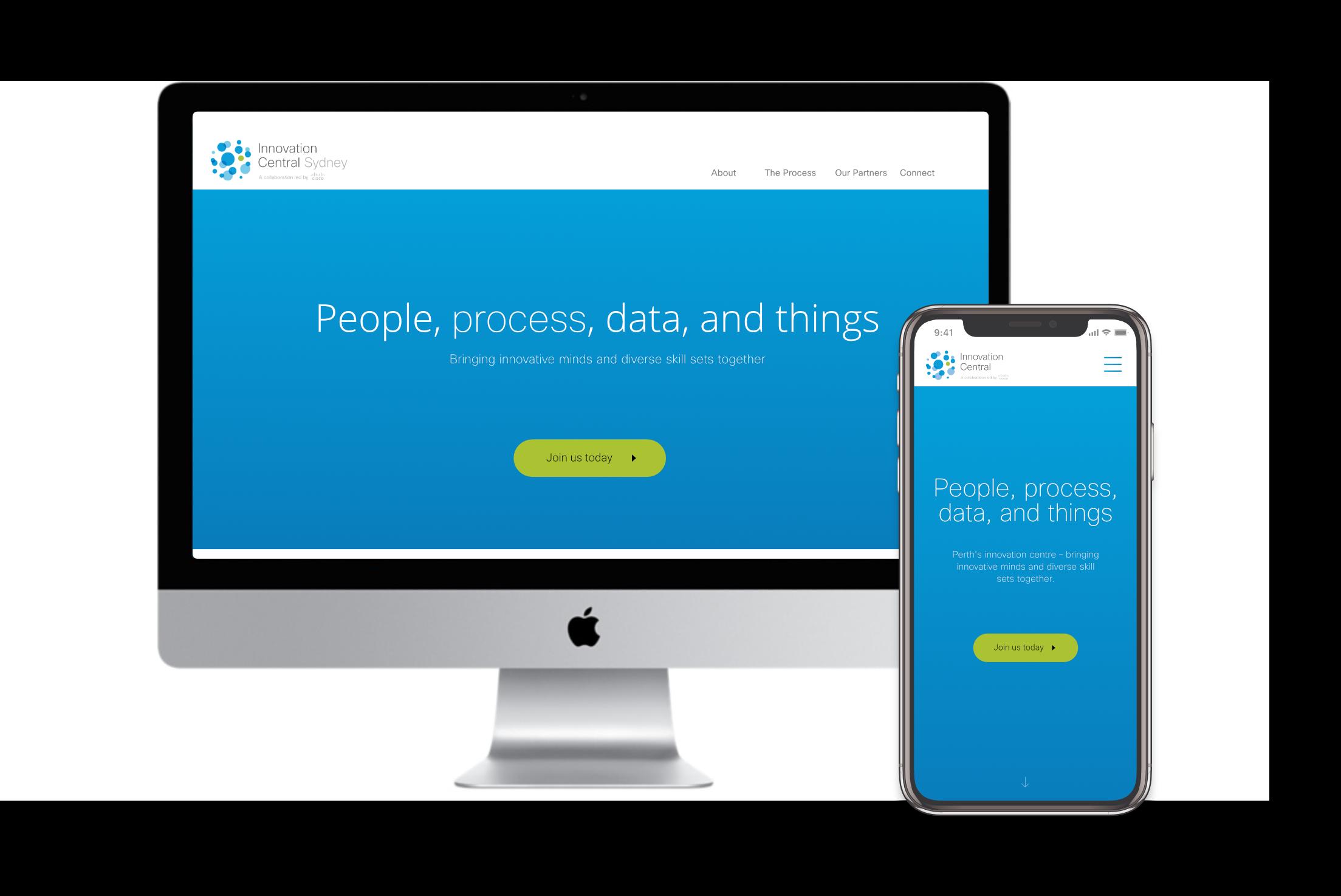 Innovation Central Sydney homepage design on desktop and mobile