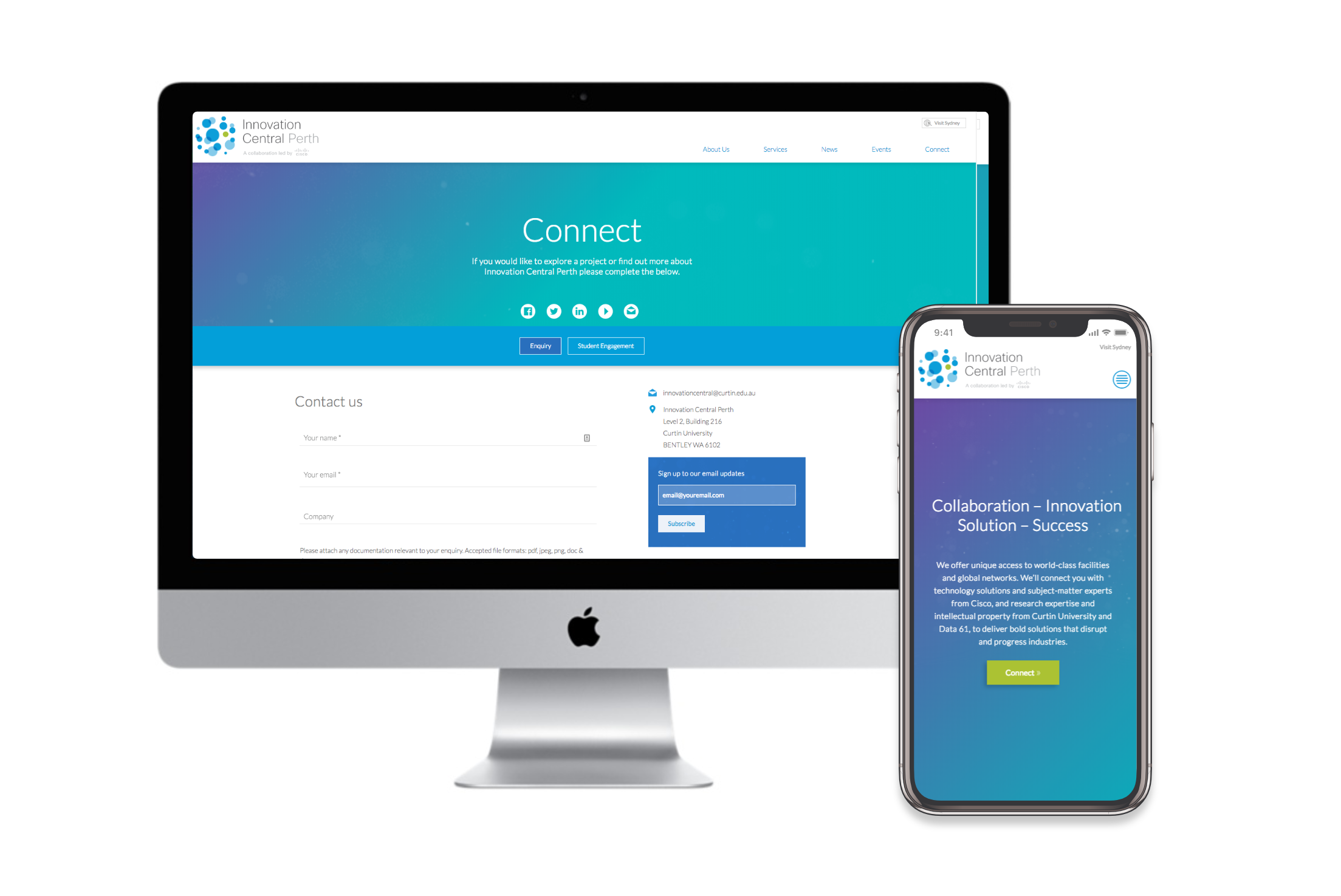 Innovation Central Perth – UI design by Charlotte Clark