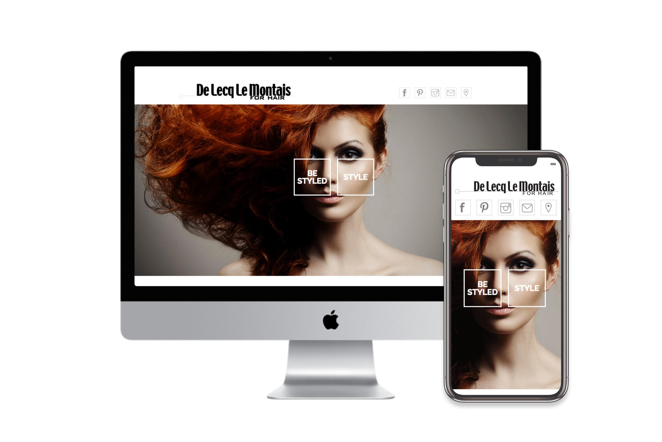 De Lecq le Montais homepage design on desktop and mobile, design by Charlotte Clark