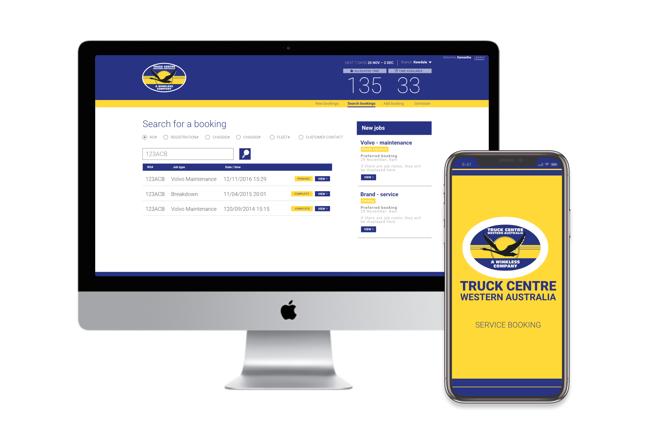 Truck Centre scheduling app (desktop), and booking app (mobile), design by Charlotte Clark for WATC